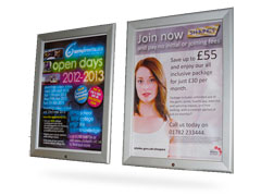 Poster advertising in display frames...